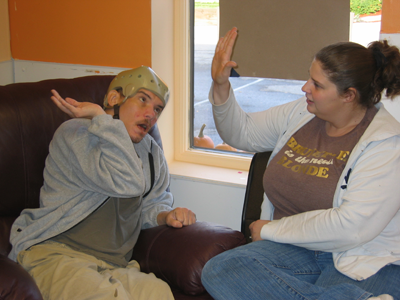 It is easy to adapt activities for older communicators; for example, using high five routines